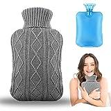 Wärmflasche mit Bezug, Amokee Wärmeflaschen mit Strickbezug Rollkragen Wärmekissen Schnelle Schmerzlinderung und Komfort, waschbare, Sicher und langlebig Und Frei Von Schadstoffen - 2 Liter (Grau)