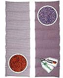 HERBALIND 8-Kammer Aroma Wärmekissen Körnerkissen Lavendelkissen - für Schulter Nacken 60x20 cm in Streifen/lila - 100% Baumwolle OEKO TEX Rapssamen- und Kräuterkissen Mikrowelle geeignet